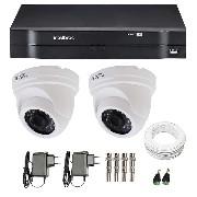 Kit CFTV 02 Câmeras Dome Infra HD 720p JL Protec + DVR Intelbras Multi HD + Acessórios