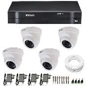 Kit CFTV 04 Câmeras Dome Infra HD 720p JL Protec + DVR Intelbras Multi HD + Acessórios
