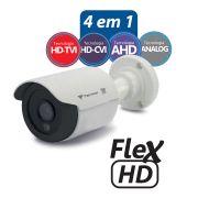 Câmera Bullet Infravermelho Flex 4 em 1 Tecvoz QCB-128P HD 720p 1.0M - CVBS, AHD, HDCVI, HDTVI