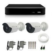 Kit de Câmeras de Segurança - DVR Giga Security 4 Ch Tri-Híbrido AHD + 2 Câmeras Bullet Infravermelho Flex 4 em 1 Tecvoz QCB-136P HD 720p 1.0M + Acessórios