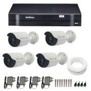 Kit de Câmeras de Segurança - DVR Intelbras 1004 4 Ch G2 HDCVI + 4 Câmeras Bullet Infravermelho Flex 4 em 1 Tecvoz QCB-136P HD 720p 1.0M + Acessórios