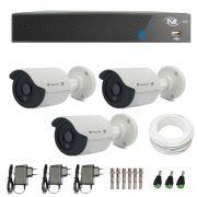 Kit de Câmeras de Segurança - DVR TVZ Security 4 Ch AHD M + 3 Câmeras Bullet Infravermelho Flex 4 em 1 Tecvoz QCB-136P HD 720p 1.0M + Acessórios