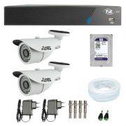 Kit de Câmeras de Segurança - DVR TVZ Security 4 Ch AHD M + 2 Câmeras Bullet Infravermelho 1000 Linhas Tudo Forte 2,8mm IP66 + HD WD Purple + Acessórios