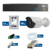 Kit de Câmeras de Segurança - DVR TVZ Security 8 Ch AHD M + 8 Câmeras Bullet Infravermelho Flex 4 em 1 Tecvoz QCB-136P HD 720p 1.0M + HD WD Purple + Acessórios
