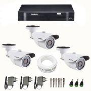Kit de Câmeras de Segurança - DVR Intelbras 4 Ch G2 Tribrido HDCVI + 3 Câmeras Infra VM 3120 960H + Acessórios
