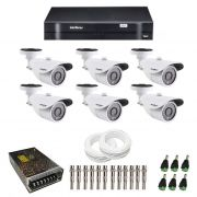 Kit de Câmeras de Segurança - DVR Intelbras 8 Ch G2 Tribrido HDCVI + 6 Câmeras Infra VM 3120 960H + Acessórios