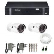 Kit de Câmeras de Segurança - DVR Intelbras 4 Ch G2 Tríbrido HDCVI + 2 Câmeras Infra VHD 3120B G2 HD 720p + Acessórios