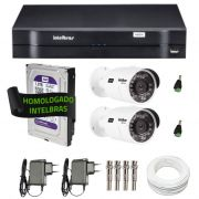 Kit de Câmeras de Segurança - DVR Intelbras 4 Ch G2 Tríbrido HDCVI + 2 Câmeras Infra VHD 3120B G2 HD 720p + HD WD Purple  1TB + Acessórios