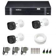 Kit de Câmeras de Segurança - DVR Intelbras 4 Ch G2 Tríbrido HDCVI + 3 Câmeras Infra VHD 1120B G2 HD 720p + Acessórios