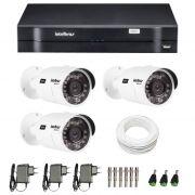 Kit de Câmeras de Segurança - DVR Intelbras 4 Ch G2 Tríbrido HDCVI + 3 Câmeras Infra VHD 3120B G2 HD 720p + Acessórios