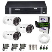 Kit de Câmeras de Segurança - DVR Intelbras 4 Ch G2 Tríbrido HDCVI + 3 Câmeras Infra VHD 3120B G2 HD 720p + HD WD Purple 1TB + Acessórios