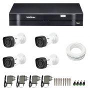 Kit de Câmeras de Segurança - DVR Intelbras 4 Ch G2 Tríbrido HDCVI + 4 Câmeras Infra VHD 1120B G2 HD 720p + Acessórios