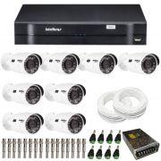 Kit de Câmeras de Segurança - DVR Intelbras 8 Ch G2 Tríbrido HDCVI + 8 Câmeras Infra VHD 3120B G2  HD 720p + Acessórios