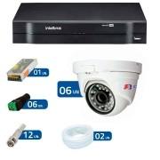 Kit CFTV 06 Câmeras Dome Infra HD 720p + DVR Intelbras Multi HD + Acessórios