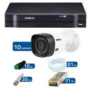 Kit CFTV 10 Câmeras Infra 720p Intelbras VHD 3120B G3 + DVR Intelbras Multi HD + Acessórios