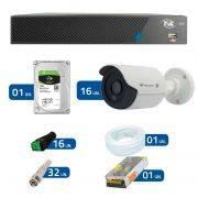 Kit CFTV 16 Câmeras Infra HD 720p QCB-128P TECVOZ + DVR TVZ Security + HD 1TB + Acessórios