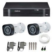 Kit CFTV 2 Câmeras Infra 720p Intelbras VHD 3120B G3 + DVR Intelbras Multi HD + Acessórios