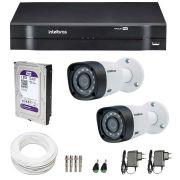 Kit CFTV 2 Câmeras Infra 720p Intelbras VHD 3120B G3 + DVR Intelbras Multi HD + HD WD Purple + Acessórios