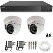 Kit CFTV 2 Câmeras Infra 720p Tecvoz Flex QDM 128P - DVR Tecvoz Flex 4 em 1 + Acessórios