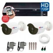 Kit CFTV 2 Câmeras Infra HD 720p FBR + DVR Intelbras Multi HD + Acessórios