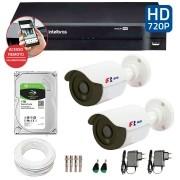 Kit CFTV 2 Câmeras Infra HD 720p FBR + DVR Intelbras Multi HD + HD Gravação + Acessórios