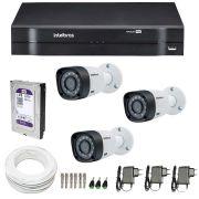 Kit CFTV 3 Câmeras Infra 720p Intelbras VHD 3120B G3 + DVR Intelbras Multi HD + HD WD Purple + Acessórios