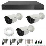 Kit CFTV 3 Câmeras Infra HD 720p QCB-128P + DVR Flex Tecvoz + Acessórios