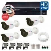 Kit CFTV 4 Câmeras Infra HD 720p FBR + DVR Intelbras Multi HD + Acessórios