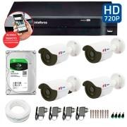 Kit CFTV 4 Câmeras Infra HD 720p FBR + DVR Intelbras Multi HD + HD Gravação + Acessórios