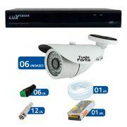 Kit CFTV 6 Câmeras Infra Tudo Forte HD 720p  + DVR Luxvision All HD 5 em 1 ECD + Acessórios