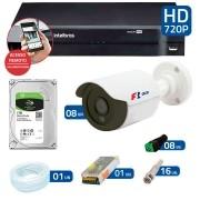 Kit CFTV 8 Câmeras Infra HD 720p FBR + DVR Intelbras Multi HD + HD Gravação + Acessórios