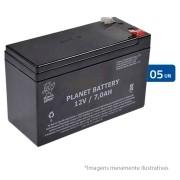 Kit 05 Bateria de Alarme, Cerca Elétrica Selada 12V 7A Planet Battery