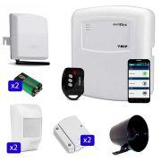 Kit de Alarme ECP 04 Sensores Sem Fio Acesso pelo Celular via Discadora GSM Connect Cell