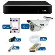 kit de Câmeras de Segurança - DVR Giga Security 16 Ch Tri-Híbrido AHD + 12 Câmeras Bullet Infravermelho AHD M Tudo Forte HD 720p 1.0M 3,6mm 36 Leds IP 66 IR 30 metros + HD WD Purple +Acessórios
