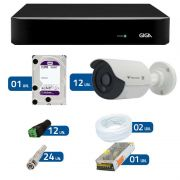 Kit de Câmeras de Segurança - DVR Giga Security 16 Ch Tri-Híbrido AHD + 12 Câmeras Bullet Infravermelho Flex 4 em 1 Tecvoz QCB-136P HD 720p 1.0M + HD WD Purple + Acessórios