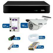 Kit de Câmeras de Segurança - DVR Giga Security 16 Ch Tri-Híbrido AHD + 16 Câmeras Bullet Infravermelho AHD M Tudo Forte HD 720p 1.0M 3,6mm 36 Leds IP 66 IR 30 metros + HD WD Purple + Acessórios