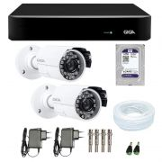 Kit de Câmeras de Segurança - DVR Giga Security 4 Ch Tri-Híbrido AHD + 2 Câmeras Bullet Infravermelho Giga Security AHD GSHD15CTB HD 720p 3,6mm + HD WD Purple + Acessórios