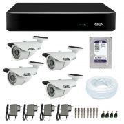 Kit CFTV 4 Câmeras Infra 720p AHD M  + DVR Giga Security AHD + HD WD Purple + Acessórios