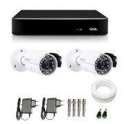 Kit de Câmeras de Segurança - DVR Giga Security 4 Ch Tri-Híbrido AHD + 2 Câmeras Bullet Infravermelho Giga Security AHD GSHD15CTB HD 720p 3,6mm + Acessórios