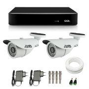 Kit de Câmeras de Segurança - DVR Giga Security 4 Ch Tri-Híbrido AHD + 2 Câmeras Bullet Infravermelho 1000 Linhas Tudo Forte 2,8mm IP66 + Acessórios