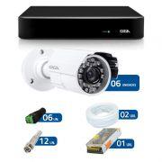 Kit de Câmeras de Segurança - DVR Giga Security 8 Ch Tri-Híbrido AHD + 6 Câmeras Bullet Infravermelho Giga Security AHD GSHD15CTB HD 720p 3,6mm + Acessórios