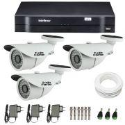 Kit de Câmeras de Segurança - DVR Intelbras 1004 4 Ch G2 + 3 Câmeras Bullet Infravermelho 1000 Linhas Tudo Forte 2,8mm IP66 + Acessórios