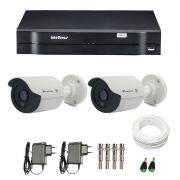 Kit de Câmeras de Segurança - DVR Intelbras 1004 4 Ch G2 HDCVI + 2 Câmeras Bullet Infravermelho Flex 4 em 1 Tecvoz QCB-136P HD 720p 1.0M + Acessórios