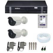Kit de Câmeras de Segurança - DVR Intelbras 1004 4 Ch G2 HDCVI + 2 Câmeras Bullet Infravermelho Flex 4 em 1 Tecvoz QCB-136P HD 720p 1.0M + HD WD Purple 1TB +  Acessórios
