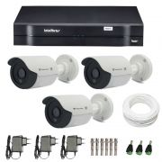 Kit de Câmeras de Segurança - DVR Intelbras 1004 4 Ch G2 HDCVI + 3 Câmeras Bullet Infravermelho Flex 4 em 1 Tecvoz QCB-136P HD 720p 1.0M + Acessórios