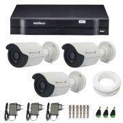 Kit CFTV 3 Câmeras Infra 720p Tecvoz Flex 4 em 1 QCB-136P + DVR Intelbras Multi HD + Acessórios