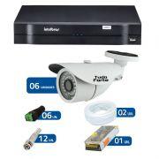 Kit de Câmeras de Segurança - DVR Intelbras 1008 8 Ch G2 + 6 Câmeras Bullet Infravermelho 1000 Linhas Tudo Forte 2,8mm IP66 + Acessórios