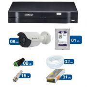 Kit de Câmeras de Segurança - DVR Intelbras 1008 8 Ch G2 HDCVI + 8 Câmeras Bullet Infravermelho Flex 4 em 1 Tecvoz QCB-136P HD 720p 1.0M + HD WD Purple 1TB + Acessórios