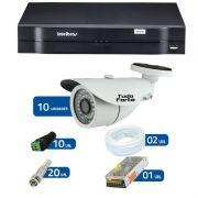 Kit de Câmeras de Segurança - DVR Intelbras 1016 16 Ch G2 + 10 Câmeras Bullet Infravermelho 1000 Linhas Tudo Forte 2,8mm IP66 + Acessórios