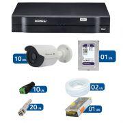 Kit de Câmeras de Segurança - DVR Intelbras 1016 16 Ch G2 + 10 Câmeras Bullet Infravermelho Flex 4 em 1 Tecvoz QCB-136P HD 720p 1.0M + HD WD Purple + Acessórios